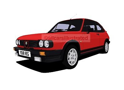 ALFA ROMEO ALFASUD CAR ART PRINT (SIZE A3). PERSONALISE IT!