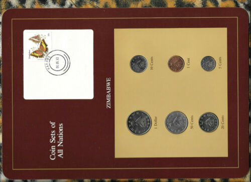Coin Sets of All Nations Zimbabwe 1980-1991 UNC $1 1980 1,10,20 cent 1991