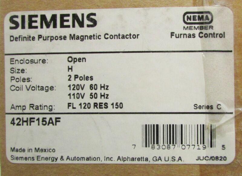 FURNAS SIEMENS Definite Purpose Contactor 2 Pole 120V 42HF15AF