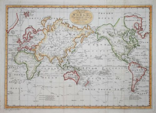 THE WORLD DISPLAYING THE TRACKS OF CAPTAIN COOK.. BY THOMAS BOWEN, CIRCA 1780.