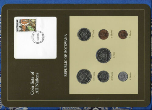 Coin Sets of All Nations Botswana w/card 1981 & 1984 UNC cows 1 Pula 2 Thebe 81
