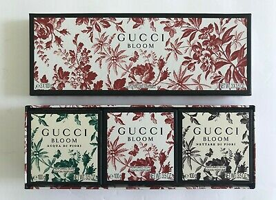 GUCCI BLOOM 3 PC EXQUISITELY PERFUMED BAR SOAP SET~ 100 GRAMS EACH ~ NEW IN BOX