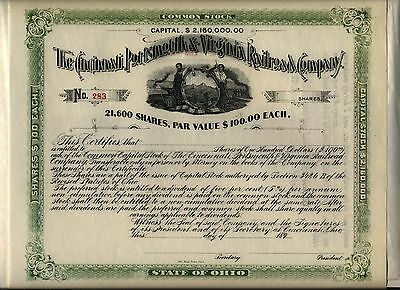 - 189_ Cincinnati Portsmouth & Virginia Railroad Company Stock Certificate Ohio