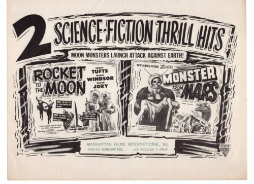 """Vintage Distributor Advertising Sheet """"Rocket To The Moon"""" & """"Monster From Mars"""""""