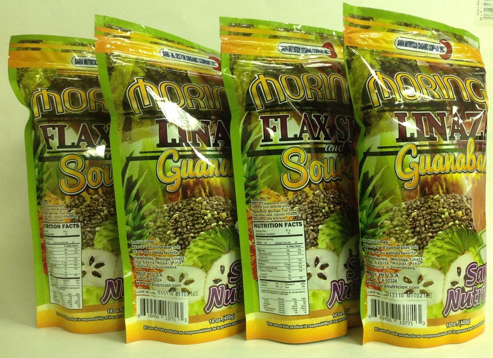 4pk Moringa, Linaza Y Guanabana/moringa, Flax Seed & Sour...