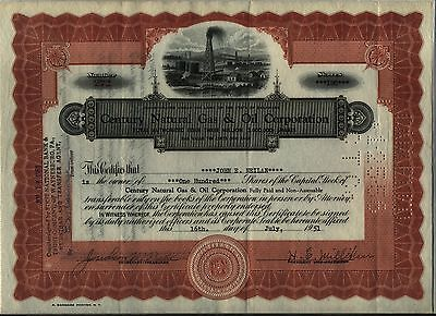 Century Natural Gas   Oil Corporation Stock Certificate