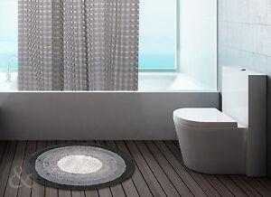 100 Cotton Round Bath Mats Bathroom Black Grey