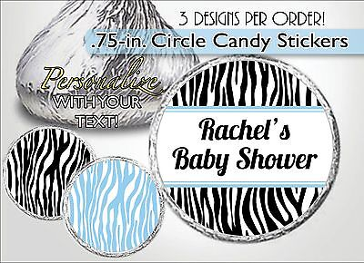 Zebra Print Baby Shower (BLUE ZEBRA PRINT Hershey Kiss Labels/Stickers, It's a Boy Baby Shower, Sweet)