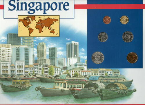 Coins of the World Singapore $1,50 Cents 1988 20,10,5 Cents 1989 1 cent 1986 BU