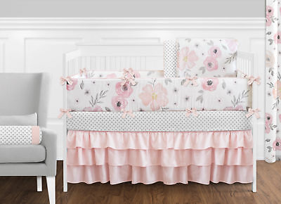 Jojo Shabby Chic Blush Pink Gray Floral Watercolor Girl Baby Bedding Crib Set