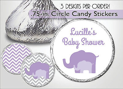 Purple/Lavender ELEPHANT Hershey Kiss Labels/Stickers-Girl Baby Shower Favors