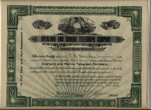 Overland & Marine Telegraph Company Stock Certificate New York