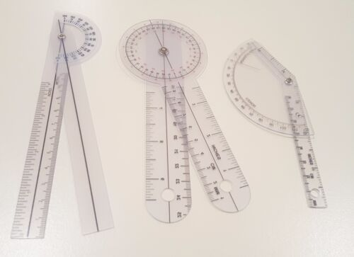 Set of 3 PIECE SPINAL FINGER GONIOMETER PROTRACTOR RULER 360 DEGREE 6 inch