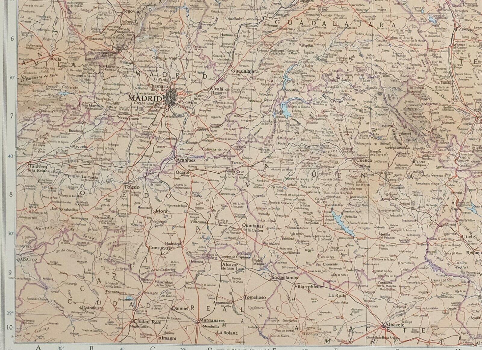 1956 LARGE MAP SPAIN NORTH EAST ~ MADRID ENVIRONS VALENCIA CASTELLON TARRAGONA