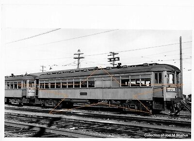 CNS&M MU Car 185 at Highwood Illinois 1949     Original B&W Print