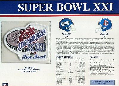 Willabee & Ward Super Bowl XXI 21 Patch New York Giants  Broncos Phil Simms MVP Super Bowl Xxi