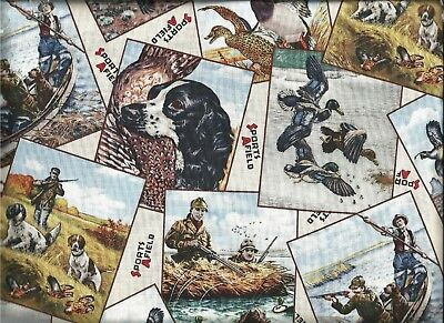 Elizabeths Studio ~ Bird Dogs Hunting Duck Quall 1~ 100% Cotton Quilt Fabric BTY