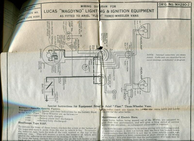 1930s vintage lucas wiring diagrams ariel motorcycle