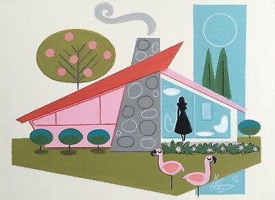 EL GATO GOMEZ PRINT MID CENTURY MODERN ATOMIC RANCH HOUSE PINK FLAMINGO 1950'S