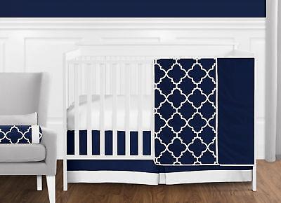 (Bumperless Luxury Navy Blue & White Trellis Geometric Baby Boy Crib Bedding Set)