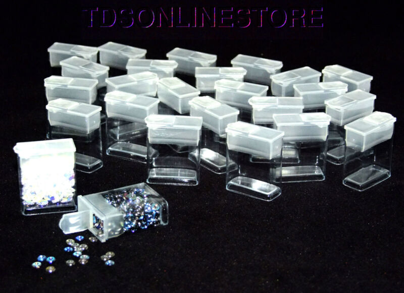 """Pack of 25 Rectangle Clear Plastic Storage Tubes With Flip Tops 1.25"""""""