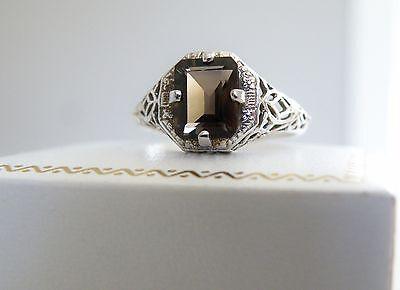 Antique Style Sterling Silver 925 Smoky Quartz Filigree Nouveau Solitaire Ring 9
