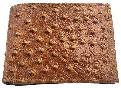 MENS Bifold Ostrich Imprint Wallet, Leather Western Cowboy Card Holder, Tan