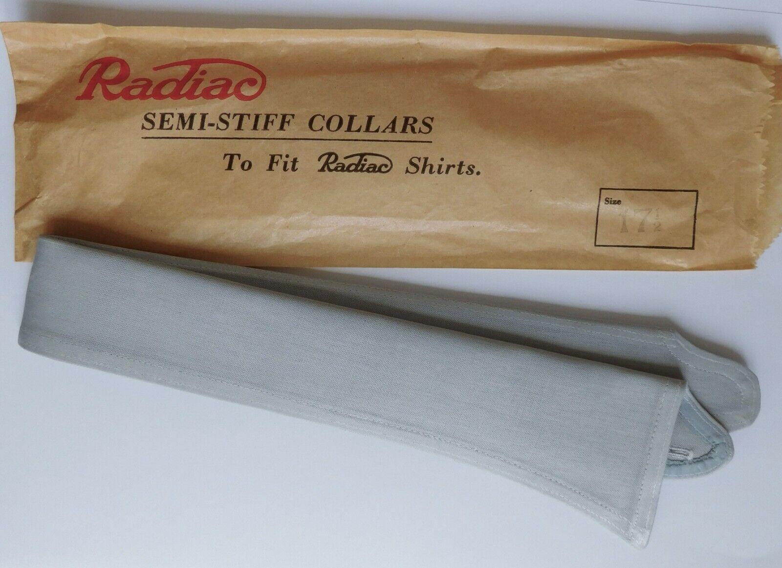 Vintage Radiac grey shirt collar size 17.5 semi-stiff UNUSED detachable perfect