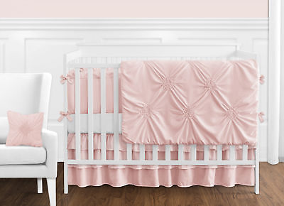 Solid Color Blush Pink Harper Shabby Chic Baby Girl Crib Bedding Set with Bumper ()