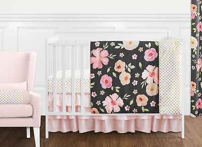 Bumperless Black Pink Shabby Chic Watercolor Floral Baby Girl Crib Bedding -