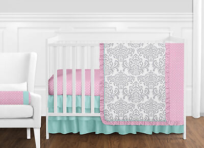 (Luxury Boutique Blue Pink Grey Bumperless Crib Baby Girl Bedding Comforter Set)
