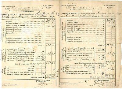 32° REGGIMENTO FANTERIA SPECCHIETTO ASSEGNI 1909 STIPENDI CAPITANO 12 BUSTE PAGA