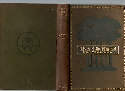 ERNEST THOMPSON SETON LIVES OF THE HUNTED OVER 200 DRAWINGS FIRST ED HB 1901