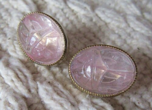 Vintage EGYPTIAN REVIVAL Rose Quartz or Pink GLASS ? GLOWING SCARAB EARRINGS