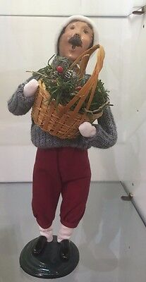 NEW Byers Choice Caroler Shopper Man with Greens Retired