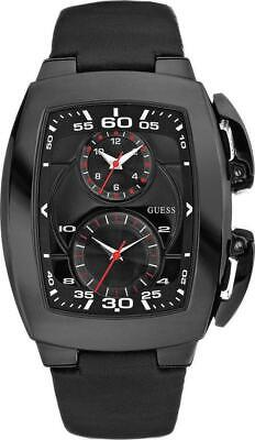 GUESS Watch Man Shuttle W15504G1 Wrist Leather Black Dual Time Rectangular (Guess Men Sale)
