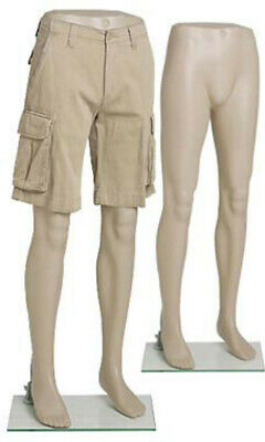 Male Plastic Mannequin Leg Form In Flesh Tone 46 Inch Height