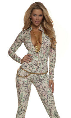 Forplay Money Print Ziprfont Catsuit Pimp Adult Womens Halloween Costume 113503](Pimp Costume Women)