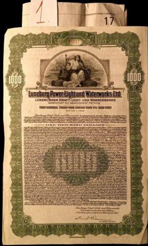 Luneburg Power Light + waterworks inc gold bond 1928 + coupons germany Lüneburg