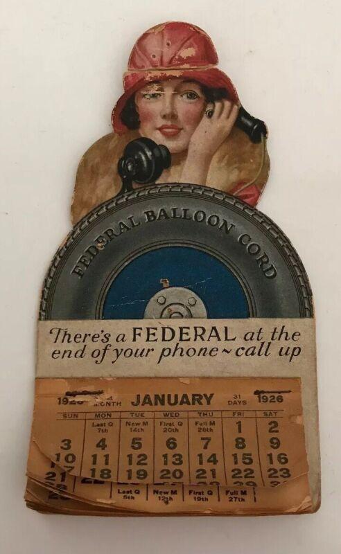 "1926 Federal Balloon Cord Tires Original Cardboard Back Calendar, 6""T"