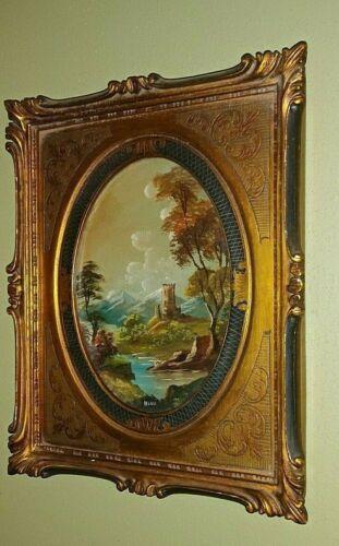 (2) Antique Landscape Oil On Board Painting  Signed Hone - Elaborate Gold Frame