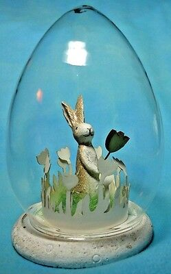 """Easter Bunny with Flower in Glass Egg Shaped Dome 4.5"""""""