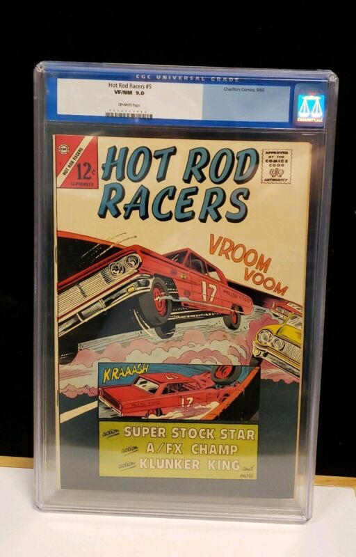 HOT ROD RACERS #5 VF/NM CGC 9.0 Super Stock Star, Racing, Charlton Comics 1965