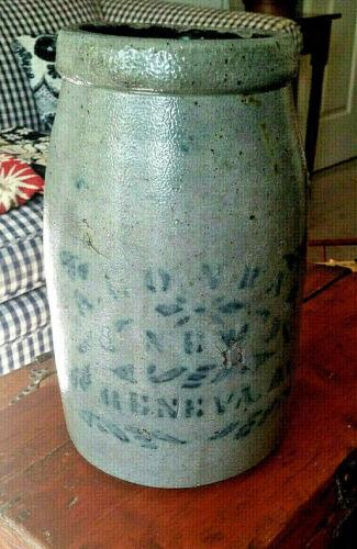 A.CONRAD NEW GENEVA PA 1/2-Gal Salt Glaze Stoneware Canning Jar Cobalt Blue