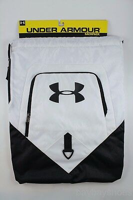 UA UNDER ARMOUR UNDENIABLE SACKPACK WHITE/BLACK DRAWSTRING GYM BAG BACKPACK NEW