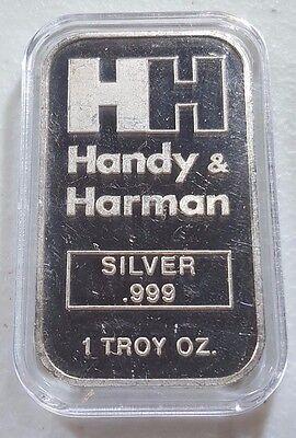 Rare Vintage H H Handy   Harman 1 Ounce  999 Silver Bar   In Airtite