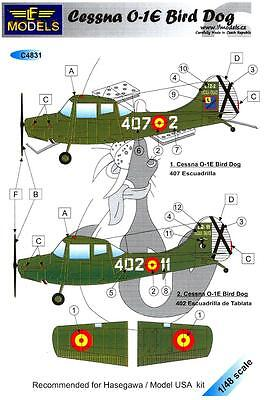 LF Models Decals 1/48 CESSNA O-1E BIRD DOG IN SPANISH SERVICE
