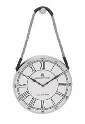 ORNAMENTAL ROUND ROPE HANGING WALL CLOCK IN SILVER FRAMING