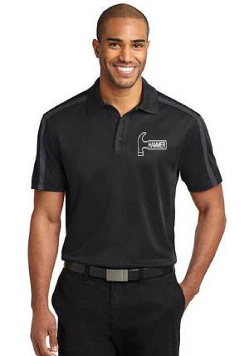 Hammer Men's Rhythm Performance Polo Bowling Shirt Dri Fit Black Gray