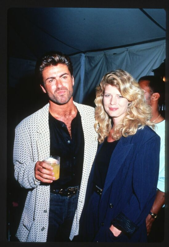 1989 GEORGE MICHAEL & FAWN HALL Original 35mm Slide Transparency SINGER WHAM!
